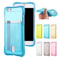 Clear Soft Silicon TPU Gel Case Cover for Coque iPhone 6 & for iPhone 6s Case with Card Slot Inside Frosted Mobile Phone Cases