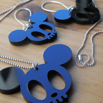 Mickey Skull Laser Cut Necklace - Black Acrylic Statement Silhouette Jewellery