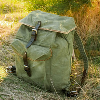 Soviet Hiking Rucksack / USSR Vintage Travel Green Khaki Canvas Backpack, Real Leather Straps / Small Rustic Camping / Scout / Explorer Bag