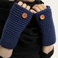 Fingerless Mittens, Blue Wrist Warmers, Texting Gloves, Crocheted Hand Warmer, Open Mittens, Crocheted Gloves, Texting Mittens