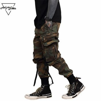 Men Black Cargo Pants Ribbons Hip Hop Pockets Spring Track Sweatpants