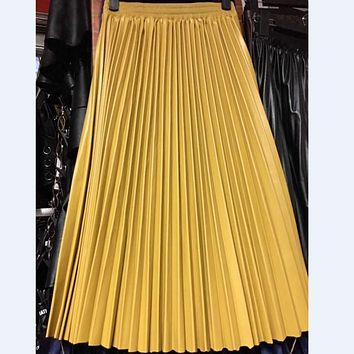Autumn & Winter New Style PU Accordion Pleated Skirt High Waist Leather Skirt 5-Colors Available Free Shipping 2017
