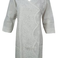 Mogul Interior Womans Tunic Handmade Floral Chikan Embroidered Cotton Boho Summer Kurta White Dress