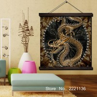 Golden Chinese Dragon Print Scroll Paintings Wall Art Printed Hanging Framed Canvas Painting Modern Home Decoration