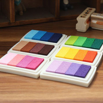 New 1PCS 6 Color Inkpad Ink stamp pad Colorful Cartoon Craft Inkpad set for DIY funny work Fingerprint Scrapbooking Accessories