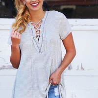 Next In Line Laced Up Tunic {Gray}