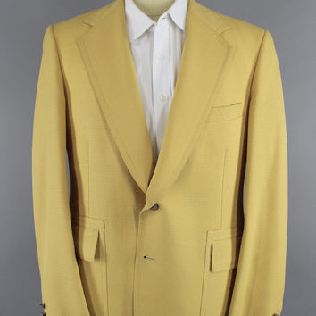 Vintage 1970s Blazer / 70s Jacket / 1960s Sport Coat / Preppy Yellow Spring Summer Blazer / Jack Nicklaus Golf Jacket / Size Large Tall
