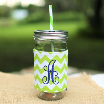 Personalized Chevron Mason Jar Tumbler, Lime and White Monogram, Personalized Tumbler, Mason Jar Chevron, Lime Chevron