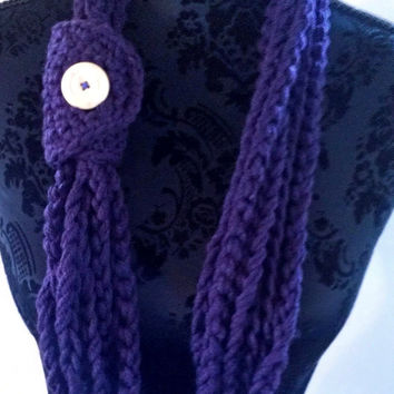 Crocheted Chain Scarf in Eggplant Purple, Cowl, Chain Infinity Scarf, Lariat, Chain Necklace Womens Accessory Gift for Her