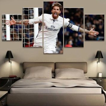 5 Panel Real Sergio Ramos Madrid Canvas Printed Painting For Living Picture Wall Art HD Decor Modern Artworks Football Poster