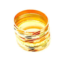 Semanario Tricolor Set of Seven Bands Gold Plated Diamond Cut Ring