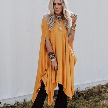 The Wren Oversized Tunic Top - Mustard