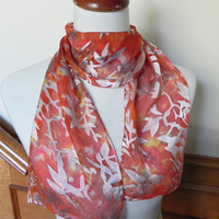 Golden autumn hand dyed Devore satin scarf, burnt orange silk scarf #376, ready to ship
