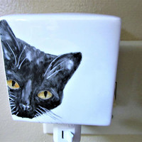 Night Light Flowered Plug in Black Cat Porcelain Ceramic Hand Painted by blm