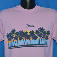 80s Hawaii Sunset Palm Tree Pink Purple t-shirt Medium