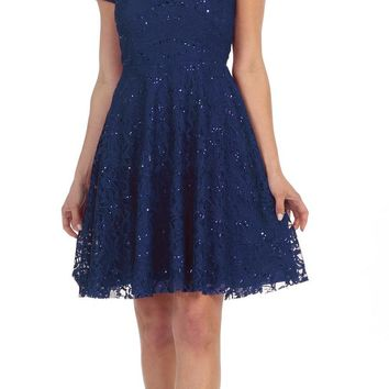 Short Homecoming Cocktail Lace Dress