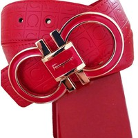 Salvatore Ferragamo Adjustable Belt Red with Gold Buckle