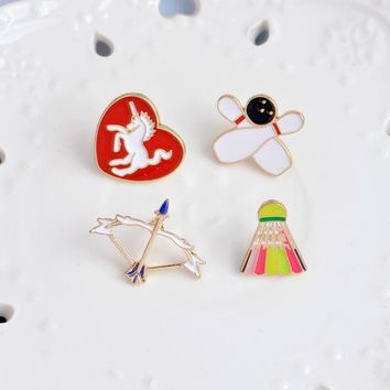 Family Friends party Board game 4pcs/set Heart Shape Unicorn Badminton Bowling Arrow Brooch Pins for Woman Gifrl Enamel Badge Hat Pin Women Fashion Jewelry AT_41_3
