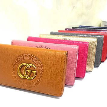"""Gucci"" Women Purse Fashion Simple Double G Logo Long Section Button Three Fold Wallet"