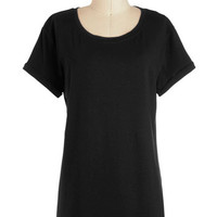 ModCloth Minimal Long Short Sleeves Cover-up Simplicity on a Saturday Tunic in Black