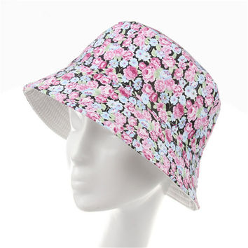 Women Cotton Boonie Floral Hunting Fishing Outdoor Cap Floral Summer Bucket Hat