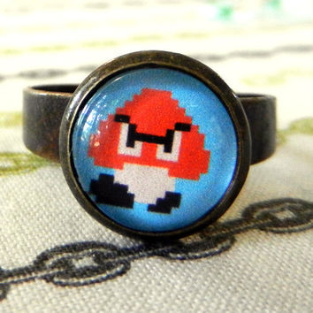 8 bit Ring Super Mario Brothers Goomba by misterotherone on Etsy
