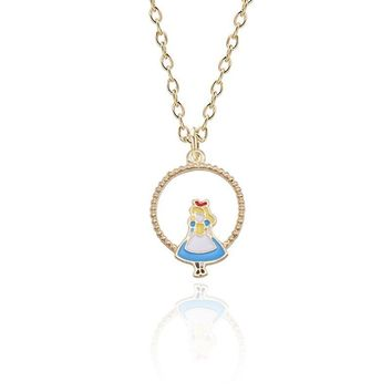 Fashion Women Necklaces Jewelry Accessories Lovely Alice In Wonderland Pendant Cartoon Figure Gold Chain Necklace Collier Femme