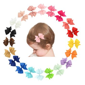 "20 Pcs/Lot Grosgrain 4"" Alligator Solid Hair Bow Clips for Baby Girl Toddlers Kids Infant Children Handmade Barrettes Hair Accessories"