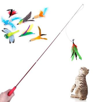 1 Pcs Cat Toy Plush Replacement Without  Stick Kitten Pet Dog Teaser Funny Play Interactive Feather Butterfly Fish