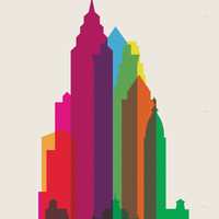 Shapes of Philadelphia accurate to scale Art Print by Yoni Alter