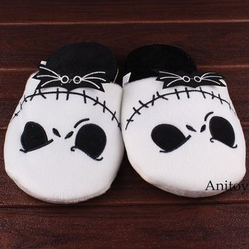 Anime The Nightmare Before Christmas Jack Skellington Adult Plush Slippers Winter Indoor Warm Shoes Soft Stuffed Toys 26.5cm