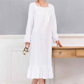 CREYONHS New Arrivals Vintage Nightgowns Sleepshirts Elegant Home Dress Lace Sleepwear Women Sleep & Lounge Soft Cotton Nightgown #H120