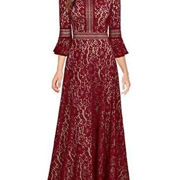 Women's Vintage Full Lace Contrast Bell Sleeve Formal Long Maxi Dress
