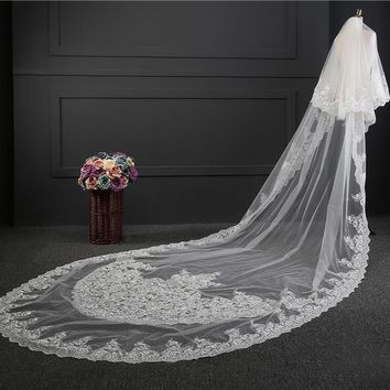 Long Veil With Comb 2 Layer Lace Purple White Ivory Wedding Accessories Bridal