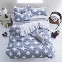 Nordic Bedding Set Comfortable Duvet Cover Set USA Europe Russia Size Cross Bedclothes King Queen Single