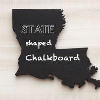 Louisiana or any US state shape sign wood cutout chalkboard. 23 other non-chalkboard colors. Wedding Housewarming College Sports Fan Decor