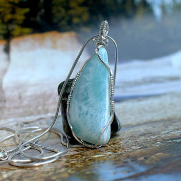 Silver wire wrapped genuine Larimar free form pendant with solid silver chain