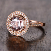 8mm Round Morganite Engagement ring Rose gold,Diamond wedding band,14k,Gemstone Promise Ring,Bridal Ring,Unique Bezel,Custom made setting