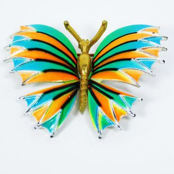 MOD Enamel Butterfly Pin - Turquoise, Orange & Green Flying Insect - Vintage 1970's 1980's Striped Butterflies Brooch