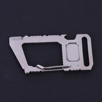 Multi Tools 11 in 1 Multifunction Square Carabiner EDC Stainless Steel Bottle Opener Military Credit Card Knife Silver