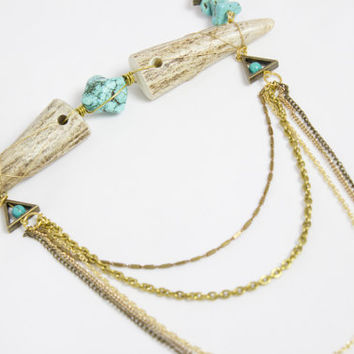 Chunky Turquoise and Antler Statement Necklace