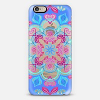 Happy Folk Art Floral Pattern - Pink & Blue on Crystal Transparent iPhone 6 case by Micklyn Le Feuvre | Casetify