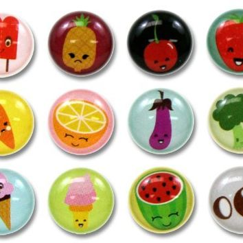 Cute Cartoon Fruits and Vegetables 12 Pieces Home Button Stickers for iPhone 5 4/4s 3GS 3G, iPad 2, iPad Mini, iPod Touch