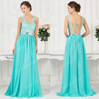 2015 Lace Chiffon Sexy Long Party Bridesmaid Prom Ball Gown Homecoming Dress NEW