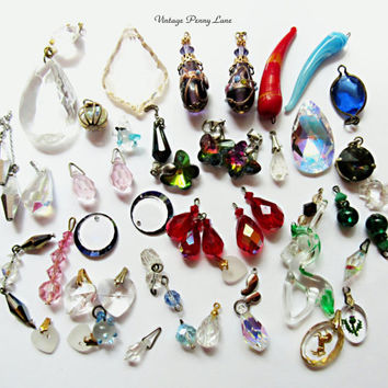 Salvaged Vintage Glass / Crystal Charms, Pendants, Findings