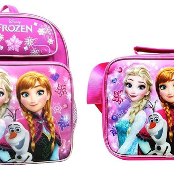 "Disney Frozen Girls 14"" Canvas Pink School Backpack Plus Insulated Lunch Bag"