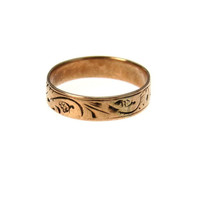 Tiny Victorian Baby Ring Chased 14k Gold