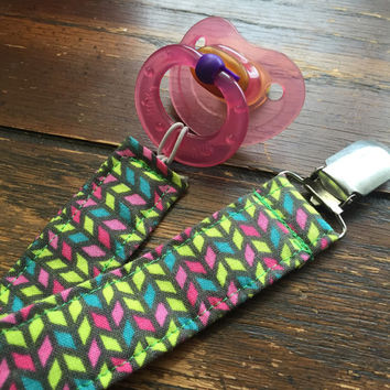 Multicolored Chevron Universal Pacifier Clip