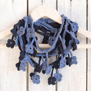 Blue Floral Scarf, Egyptian Cotton Crochet Scarf, Denim Blue Scarf, Navy Scarf