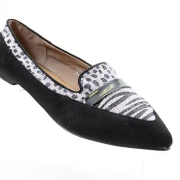 Zebra Dots Vegan Suede & Pony Hair Penny Loafer Women's Flats